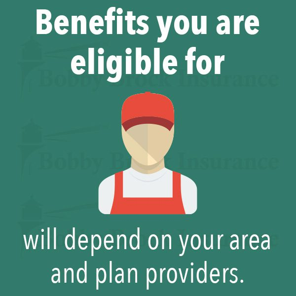 Benefits you are eligible for will depend on your area and plan providers